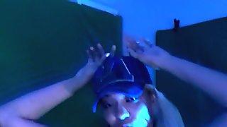 Hot Latina shaking her ass in blue light to techno music, twerking her ass