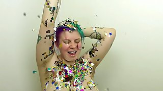 Chubby Girl Rubs Down in Oil & Confetti