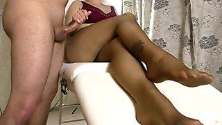 Teen with Big Tits in Pantyhose Handjob on her Legs - Cum on Feet