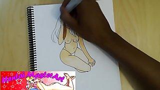 Sexy Busty Milf VivianneXLance Posing topless Fan art speed drawing
