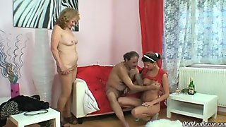 Young hottie hooks up with older couple and has naughty time