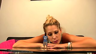 Giantess Whore blonde shrinks man